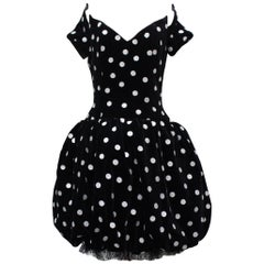 Lanvin lovely ball-shaped dress in black velvet with silvery dots
