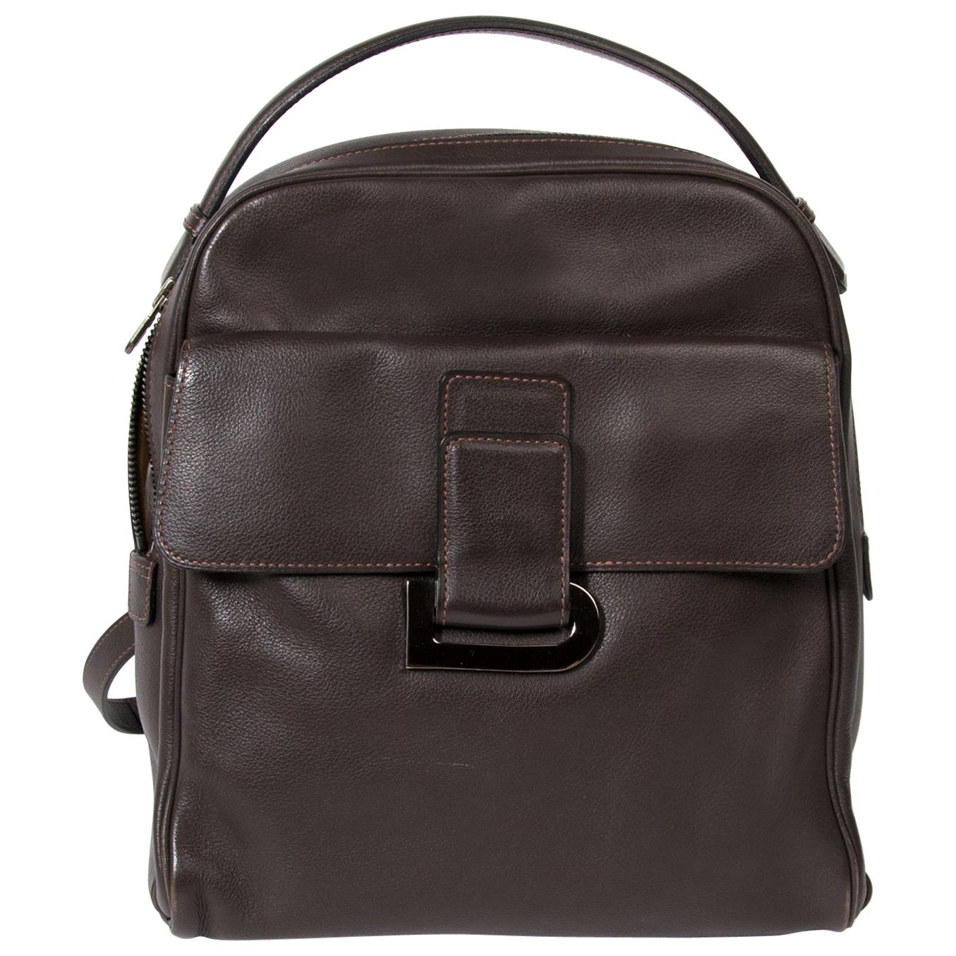 """Delvaux Brown Leather """"Onde"""" Backpack"""