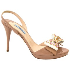 Prada Patent Leather Bow Sandals - size 38