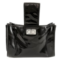 Chanel Black Patent Leather Looped Handle Bag