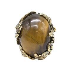 Roberto Cavalli Metallic Gemstone Leaf Ring