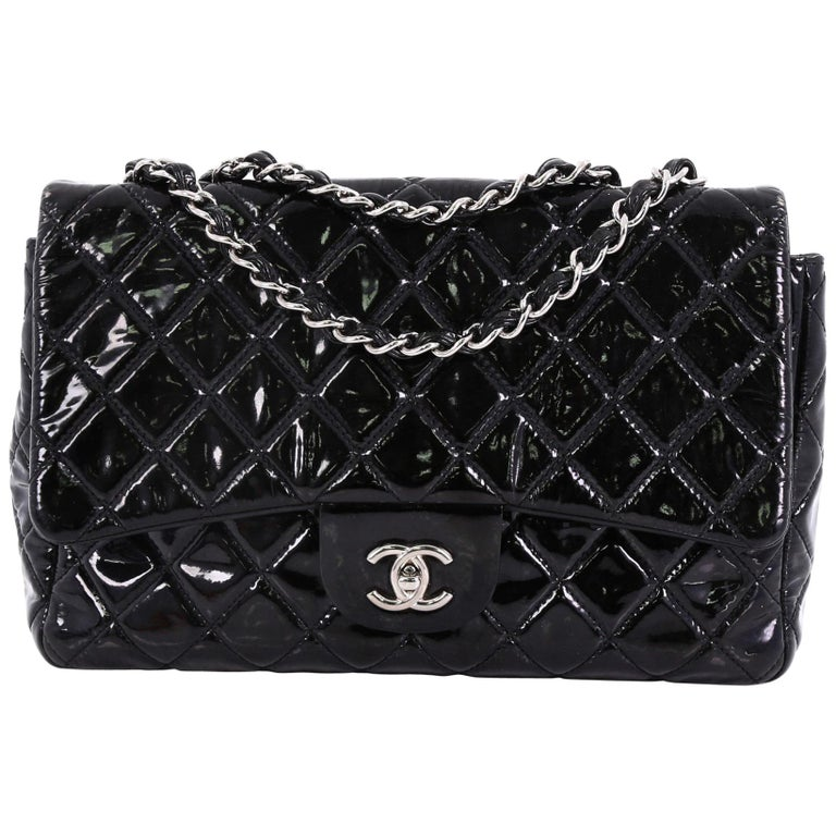 f6851f05520e Chanel Classic Single Flap Bag Quilted Patent Jumbo For Sale at 1stdibs