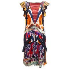 Nicolas Ghesquière for Balenciaga Runway Silk Ikat Print Dress, Fall 2007