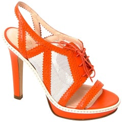 Versace Orange And White Canvas Leather Heeled Sandals - Size 38