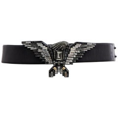 Alber Elbaz for Lanvin Black Leather Belt Swarovski Crystal Eagle, Spring 2012