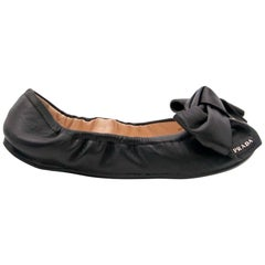 Prada Black Leather Bow Ballerina Flats - Size 35,5