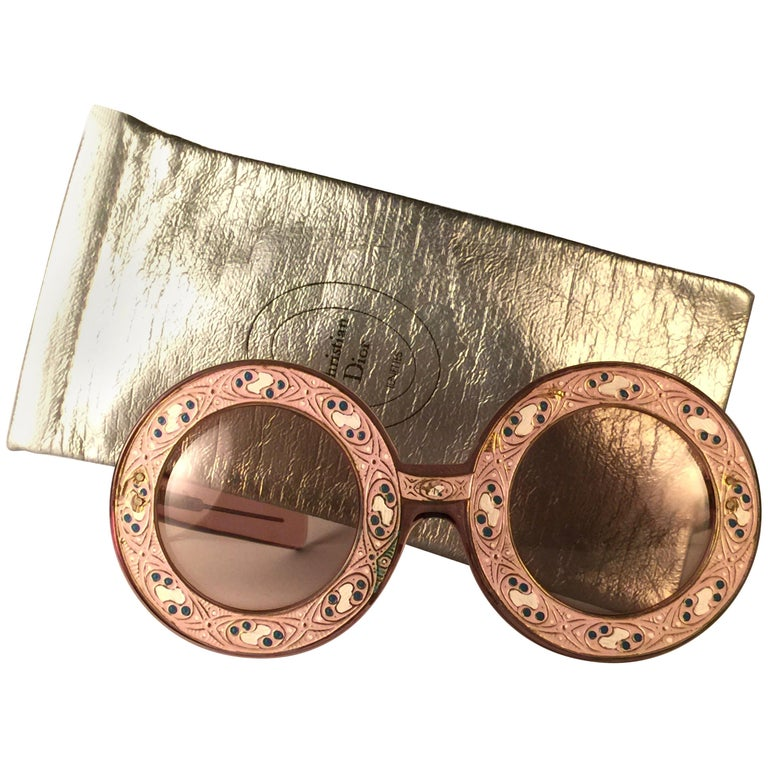 Ultra Rare Christian Dior Enamel Insert Oversized Sunglasses, 1969  For Sale