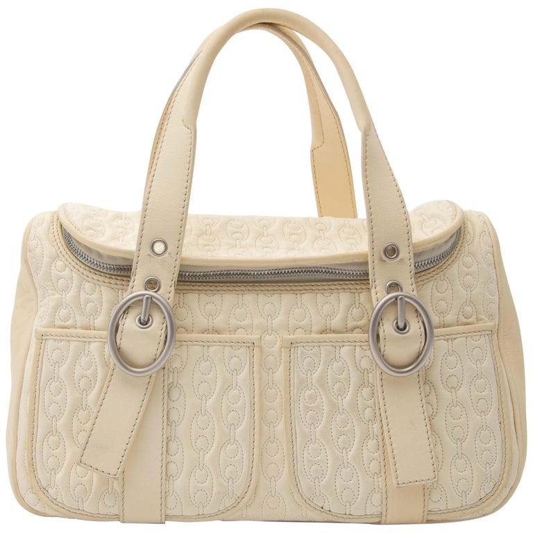 Celine Quilted Creme Front Pocket Handbag For Sale