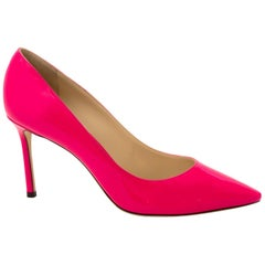 "Jimmy Choo Patent Pink Romy ""85"" Pumps  - Size 40"