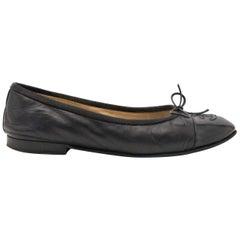 Chanel Black Leather Cap Toe Ballerina Flats - size 35.5