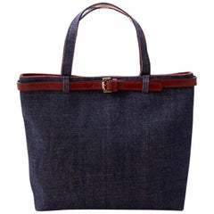 Burberry Blue Denim With Patch Pocket Tote