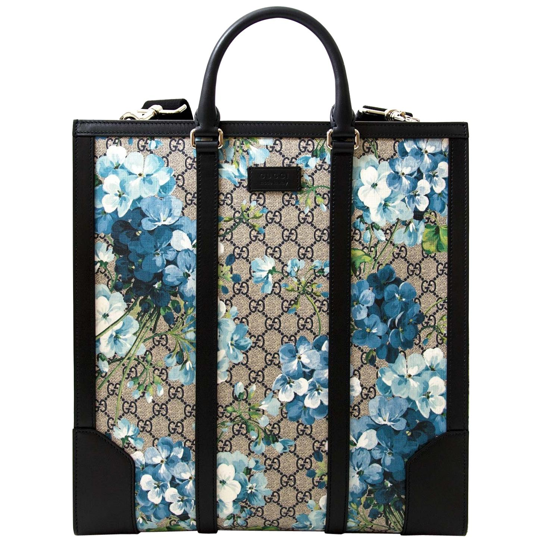 Gucci Supreme Monogram Blooms Print Tote Blue