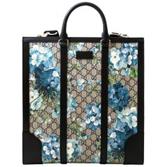 Gucci Supreme Monogram Blooms Print Tote Blue