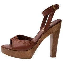 Yves Saint Laurent Brown Ankle Strap Wooden Sandal Pump - Size 36,5