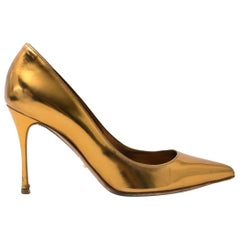 Sergio Rossi Gold Metallic Pump - Size 36