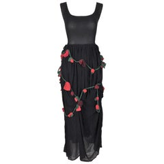 1980's Dolce & Gabbana Sheer Black Silk Rose Floral Embellished Long Dress