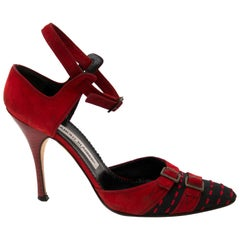 Manolo Blahnik Black And Red Stitched Pumps - Size 39.5