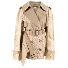 Alexander McQueen Tan Floral Embroidered Short Trench Coat US 6