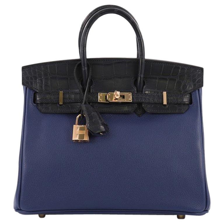 38c93e2b872a13 Hermes Touch Birkin Handbag Blue Novillo with Blue Matte Alligator For Sale
