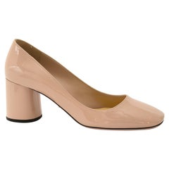 Prada Nude Patent Block Heeled Pumps - Size 36.5