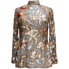 Jean Louis Scherrer Haute Couture gorgeous evening hand-embroidered top
