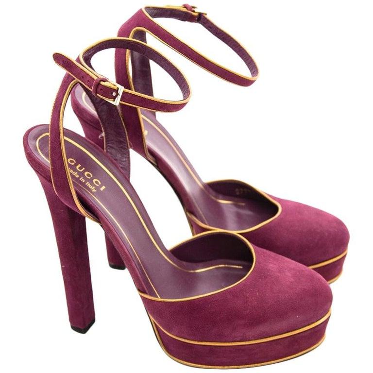 Gucci Purple Huston Mary Jane Platform Suede Pumps For Sale