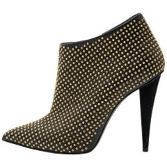 Giuseppe Zanotti Black & Gold Studded Ankle Booties - Size 36