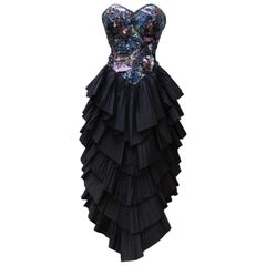 5c8e99dcf9ce 1977 Loris Azzaro Couture Black Sequin Lace Chiffon One-Shoulder ...