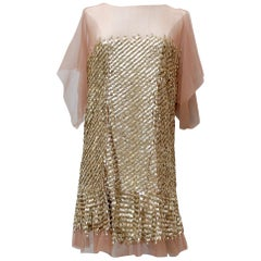 Roberto Cavalli lovely evening dress with golden sequins, 2010's