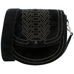 Altuzarra Medium Black Ghianda Suede Saddle Bag - New Season