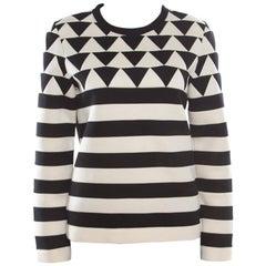 Valentino Monochrome Geometric Patterned Jacquard Sweatshirt S