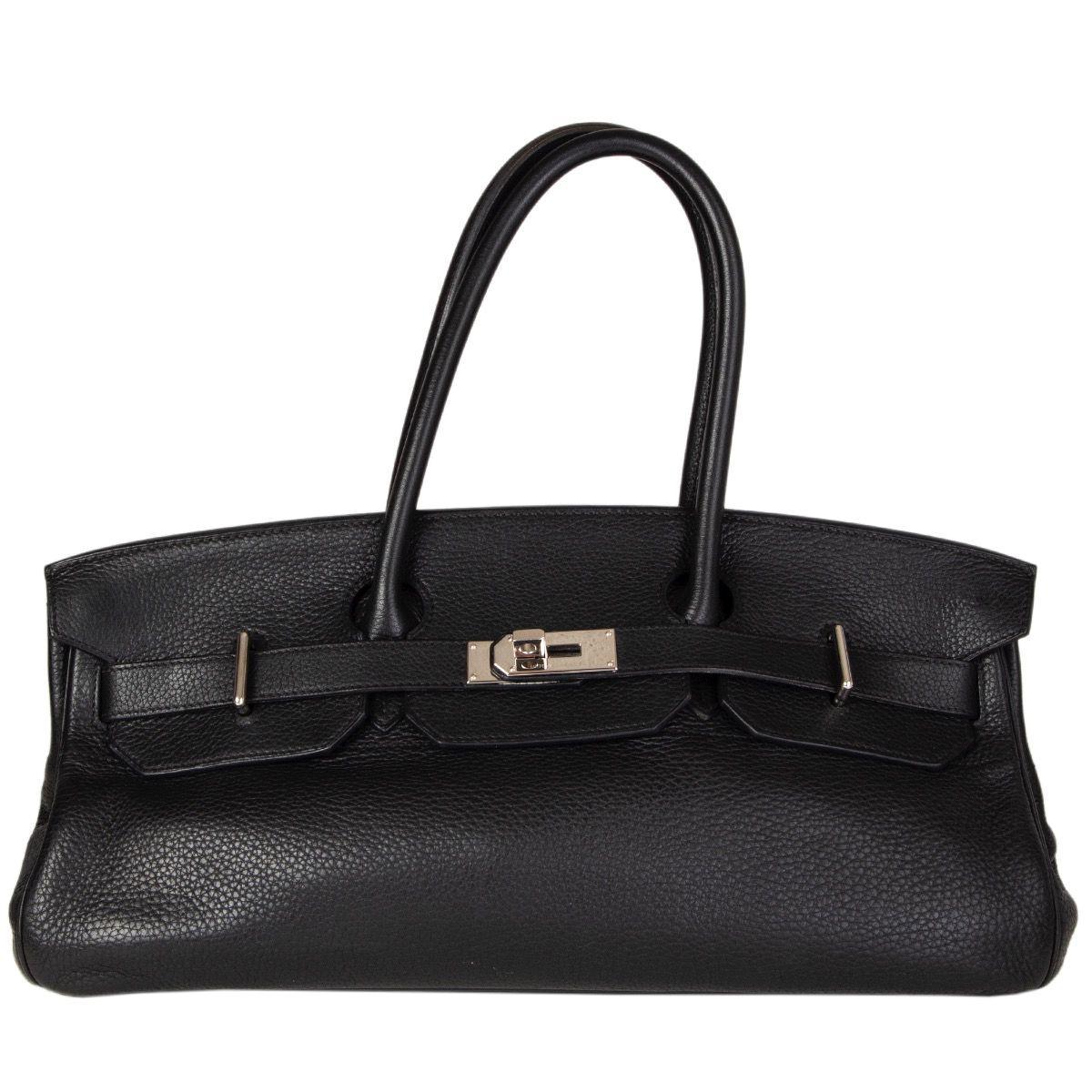 HERMES black Clemence leather & Palladium JPG I SHOULDER BIRKIN Bag