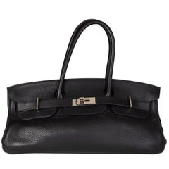 HERMES black Clemence leather & Palladium JPG I SHOULDER BIRKIN Bag