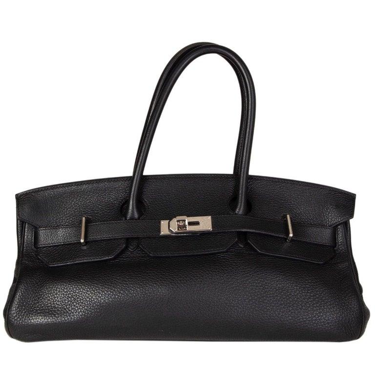 HERMES black Clemence leather & Palladium JPG I SHOULDER BIRKIN Bag For Sale