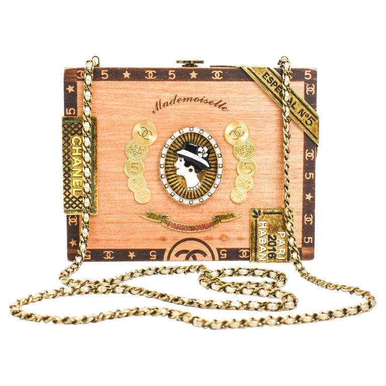 CHANEL 2017 HAVANA by NIGHT CIGAR BOX BAG. For Sale