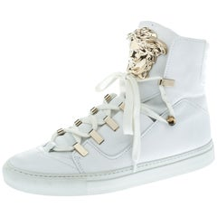 Versace White Leather Medusa High Top Sneakers Size 39