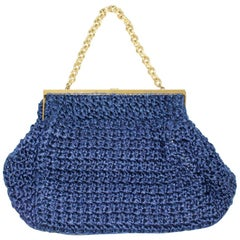 Blue Vintage Boho Crochet Textile Metal Handle Bag 1960s