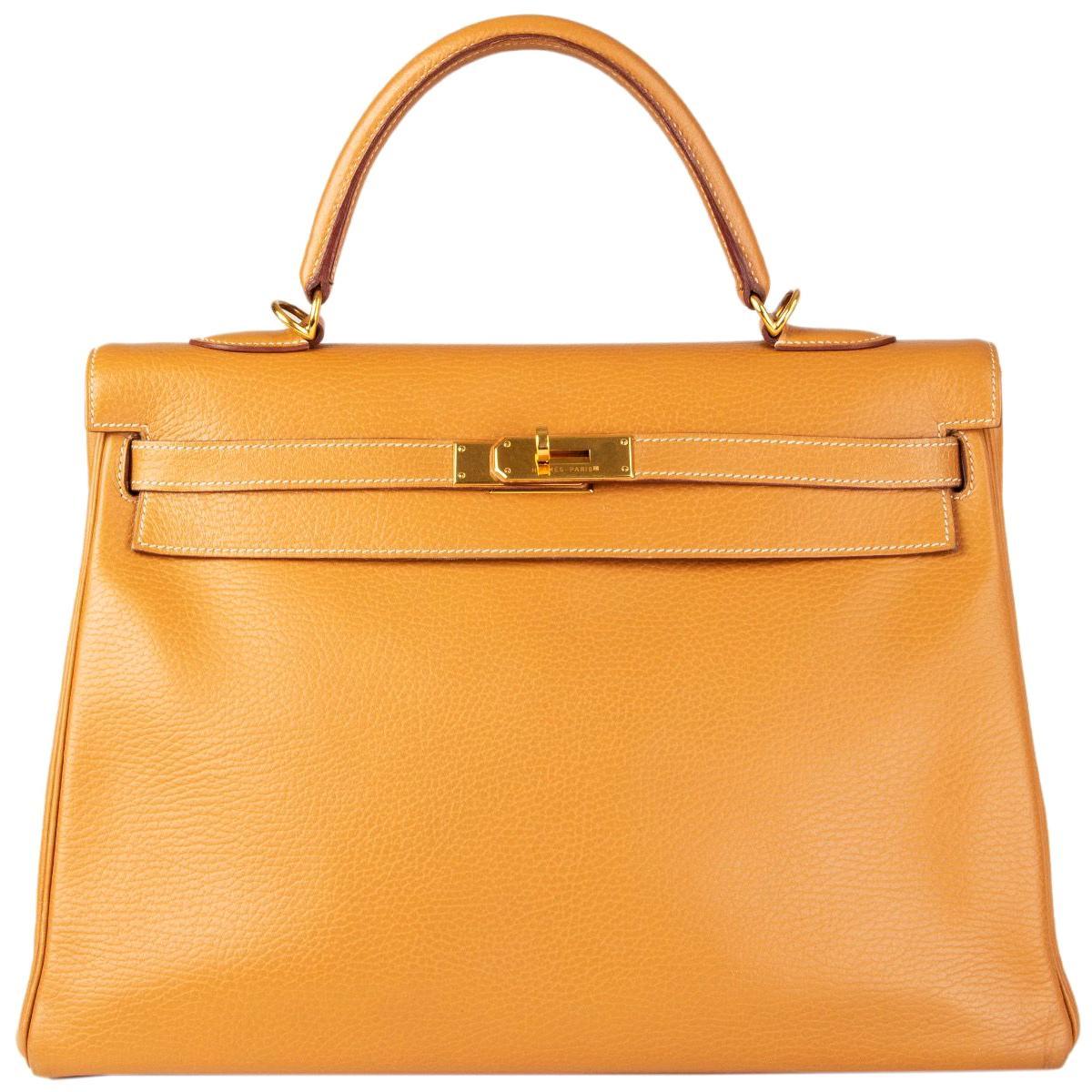 HERMES Naturelle beige Ardennes leather & Gold KELLY II 35 RETOURNER Bag
