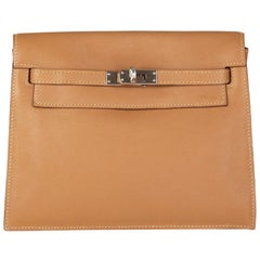 HERMES Biscuite beige Swift leather & Palladium KELLY Danse Belt Bag