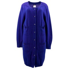 Chanel Blue Cashmere Cardigan US 12