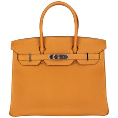 HERMES Caramel brown Epsom leather & Palladium BIRKIN 30 Bag