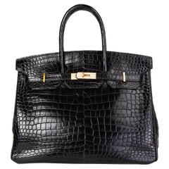 HERMES black Matt Porosus crocodile & DIAMOND BIRKIN 35 Bag