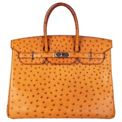 HERMES Cognac brown OSTRICH leather BIRKIN 35 Bag