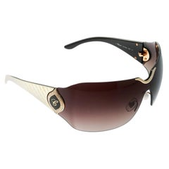 Chopard Gold / Brown Gradient Embossed SCH 883S Crystal Shield Sunglasses