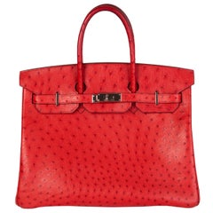 HERMES Rouge Vif red OSTRICH leather & Palladium BIRKIN 35 Bag