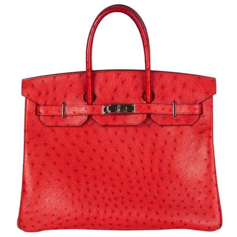 HERMES Rouge Vif red OSTRICH leather & Palladium BIRKIN 35 Bag For Sale