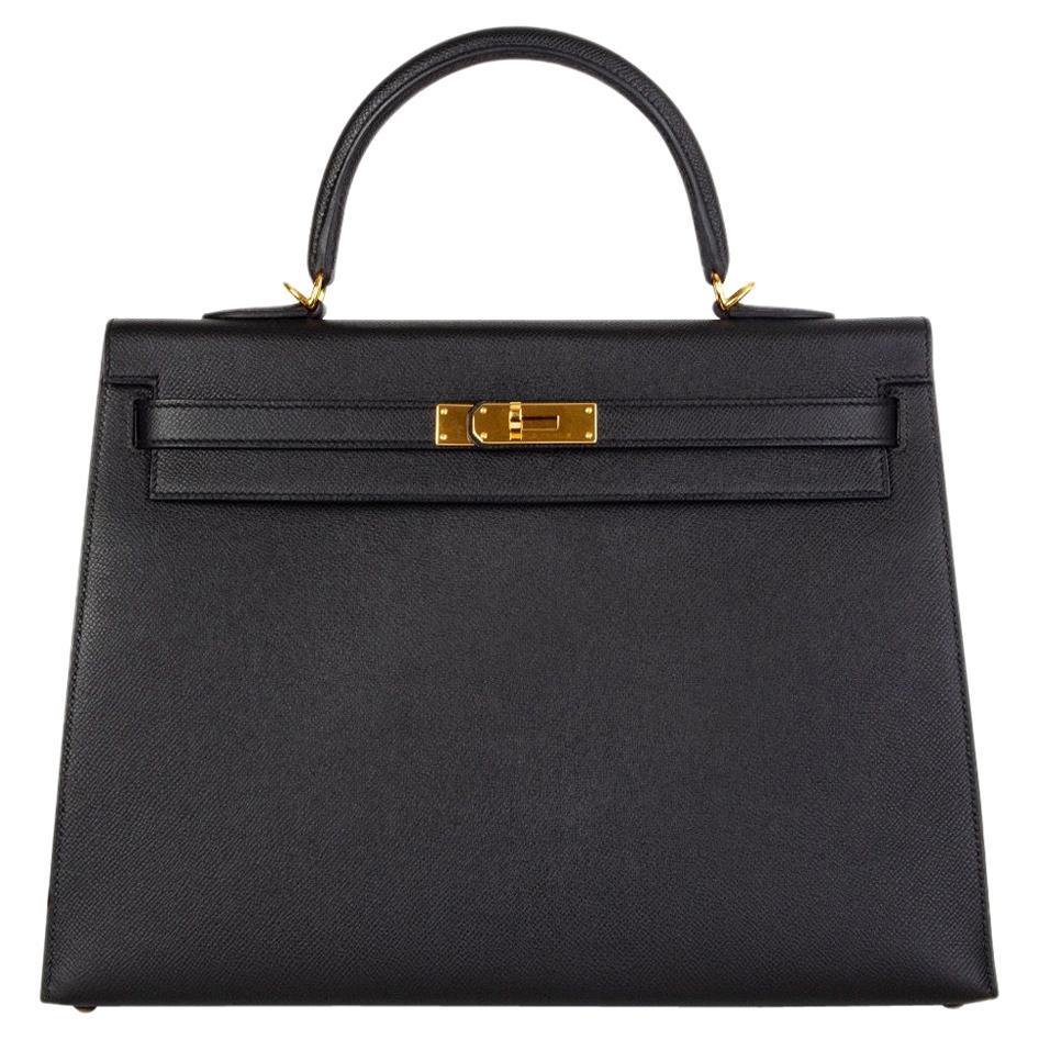 HERMES Black Epsom leather & Gold KELLY II 35 SELLIER Bag