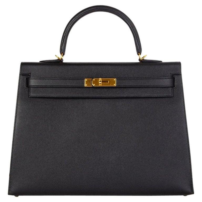 HERMES Black Epsom leather & Gold KELLY II 35 SELLIER Bag For Sale