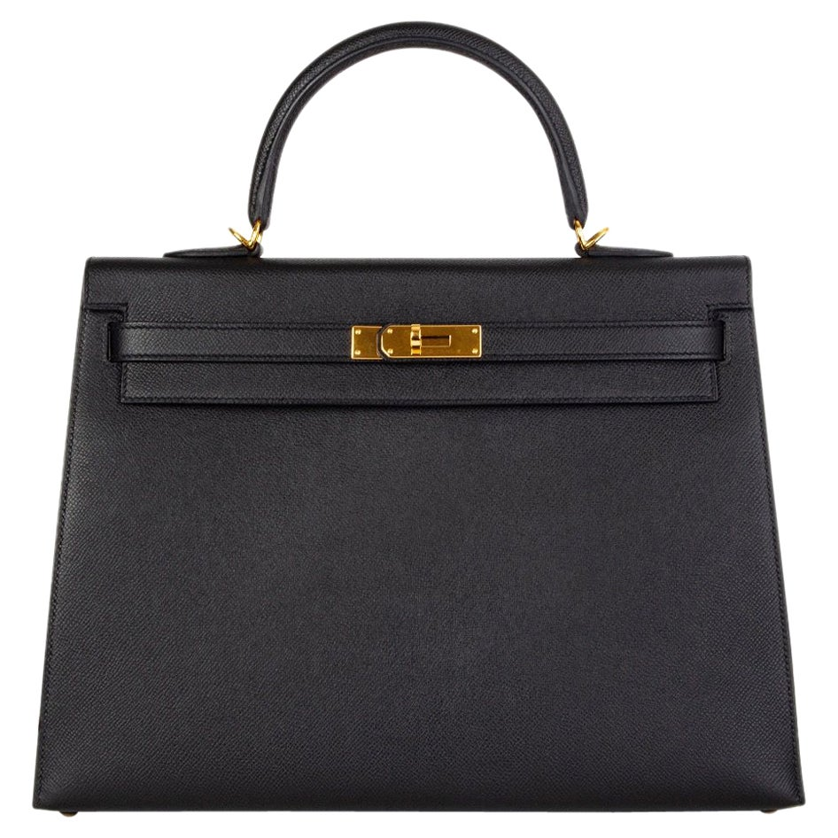 HERMES Black Epsom leather & Gold KELLY II 35 SELLIER Bag