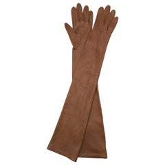 Lanvin Brown Leather Long Gloves SIZE 6-1/2